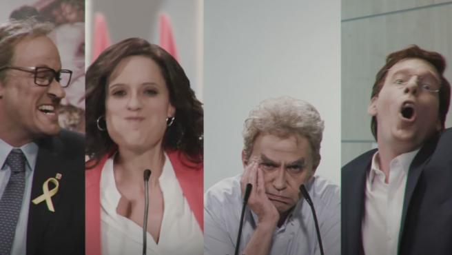 Parodias de Quim Torra, Isabel Díaz Ayuso, Fernando Simón y José Luis Martínez Almeida en 'Polònia'.