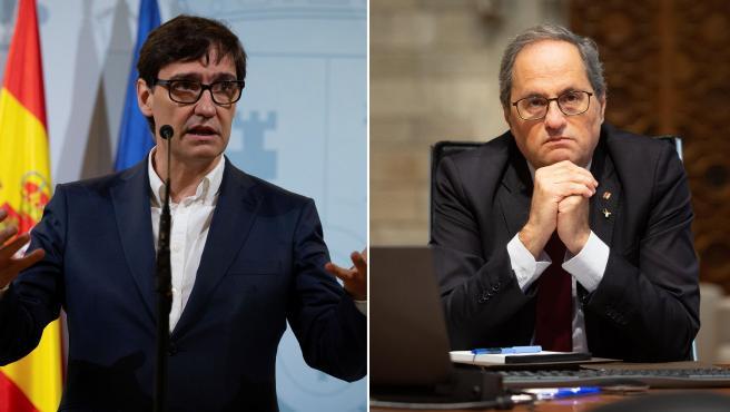 El ministro de Sanidad, Salvador Illa, y el presidente de la Generalitat, Quim Torra.