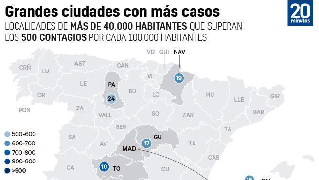 Ciudades de más de 50.000 habitantes con una tasa de incidencia de coronavirus mayor a 500/100.000 habitantes.