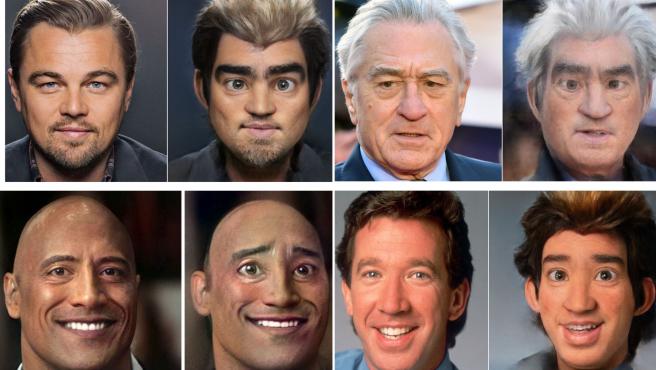 Leo DiCaprio, Robert de Niro, La Roca y Tim Allen convertidos por Toonify.