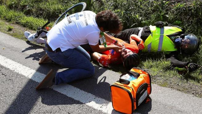 El accidente de Ellsay en el Tour de Portugal