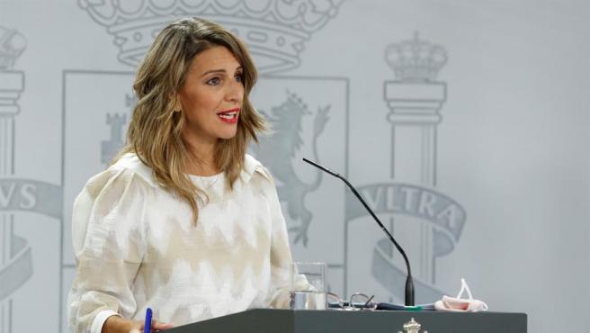 La ministra de Trabajo, Yolanda Díaz, este martes.