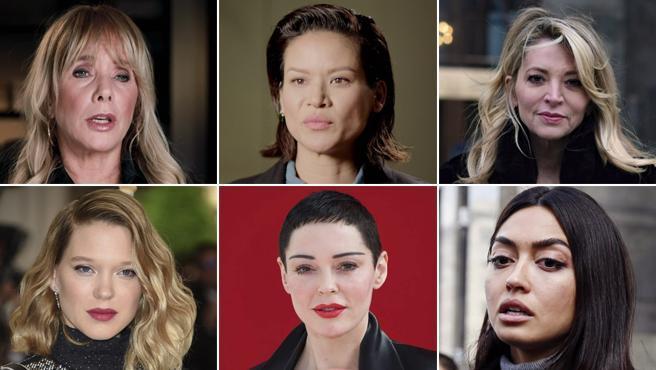 Algunas de las mujeres que acusaron a Weinstein de abusos sexuales.