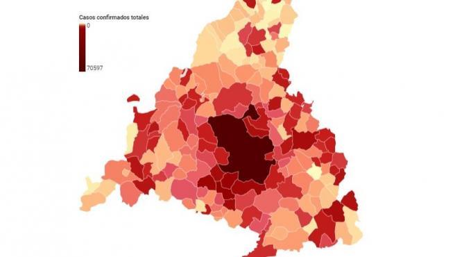 Mapa contagios Madrid