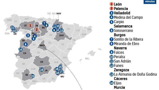 Municipios confinados por el coronavirus, a 7 de octubre.