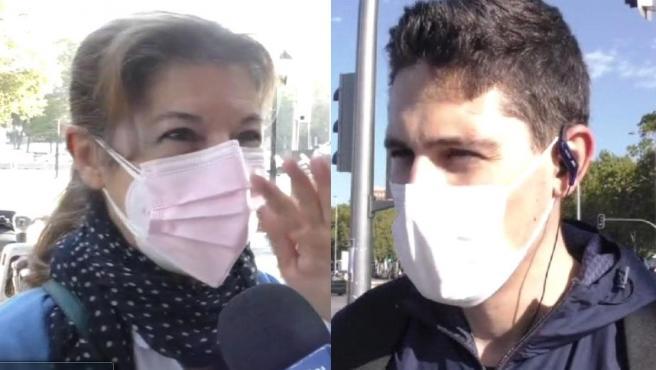 Dos personas opinan sobre la situación en Madrid.