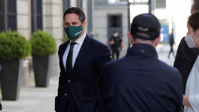 El líder de Vox, Santiago Abascal, a su llegada al Congreso de los Diputados.