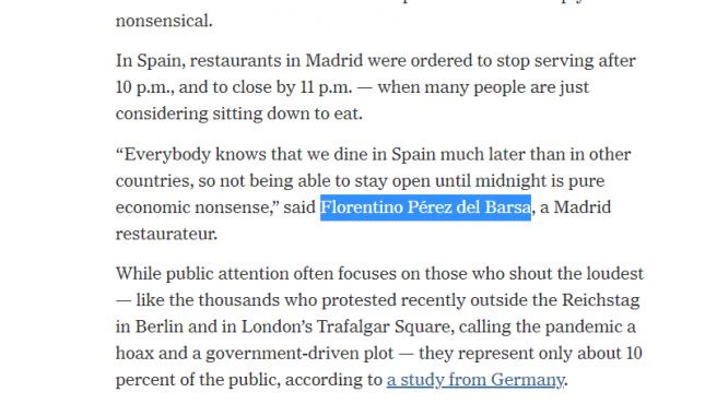Fragmento del 'The New York Times' en el que se cita a Florentino Pérez del Barsa.