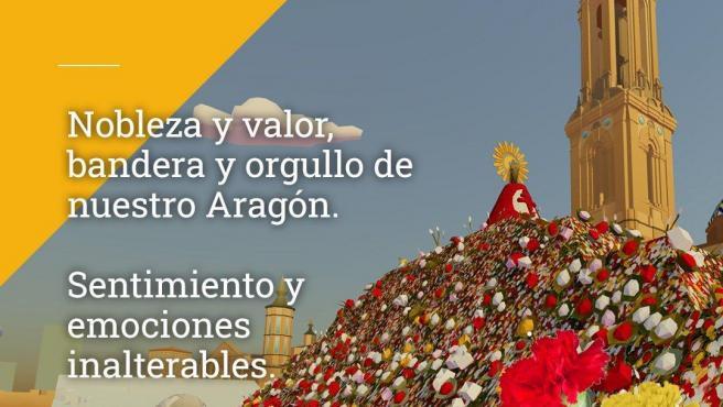 Imagen promocional de la web 3D que convierte la ofrenda floral de las Fiestas del Pilar en virtual por la Covid.