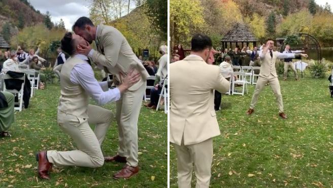 Brock preparó un 'flashmob' de Lady Gaga para su marido Riley.