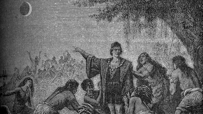 Grabado del siglo XIX que muestra el truco de cómo Colón predijo un eclipse.