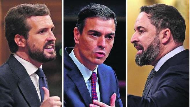 Casado, Sánchez y Abascal