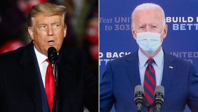 Donald Trump y Joe Biden, con y sin mascarillas en dos mítines.