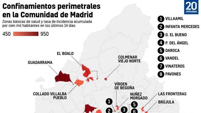Gráfico zonas confinadas Madrid