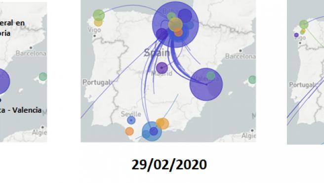 Expansión de la Covid en febrero y marzo de 2020 en España.