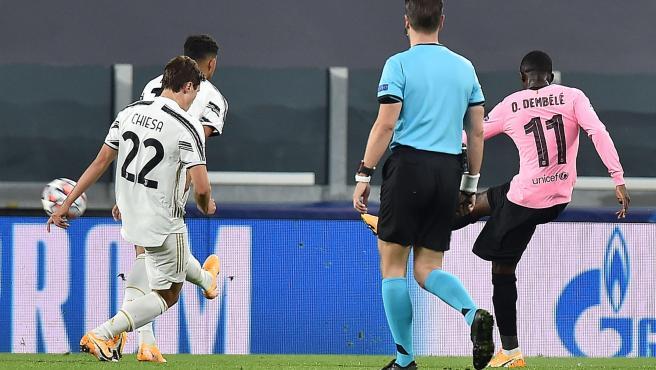 Ousmane Dembéle, durante el partido entre Barcelona y Juventus