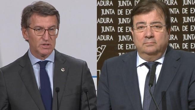 Los presidentes de la Xunta de Galicia y de Extremadura, Alberto Núñez Feijóo (izq.) y Guillermo Fernández Vara (dcha.)