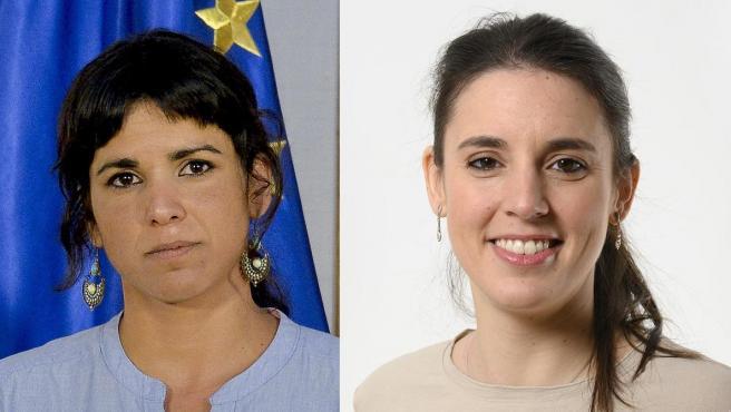 Combo de fotos de Teresa Rodríguez e Irene Montero.