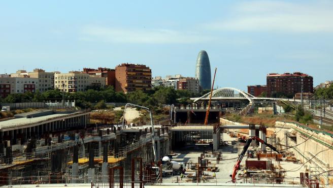 Obras en la futura estación de La Sagrera (Barcelona).