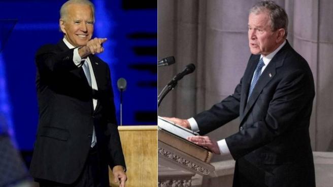 Combo de imágenes de Joe Biden y George W. Bush.