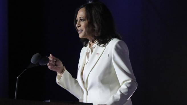 La vicepresidenta electa de Estados Unidos, Kamala Harris, durante su discurso en la noche de este sábado.