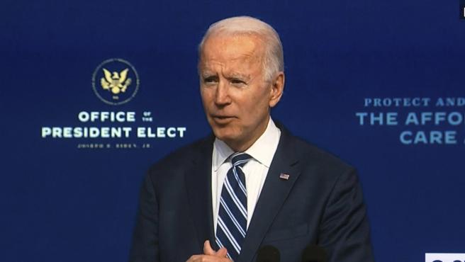 El presidente electo de EE UU, Joe Biden, en la comparecencia de este martes.
