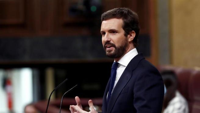 El líder del PP, Pablo Casado durante su intervención en el Pleno del Congreso.