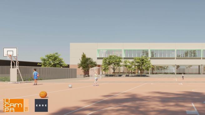 Simulación de las nuevas zonas deportivas del colegio.