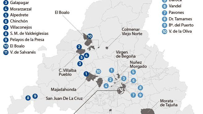 Mapa de restricciones en Madrid.