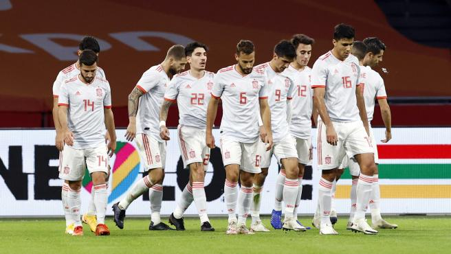 Selección española en un partido