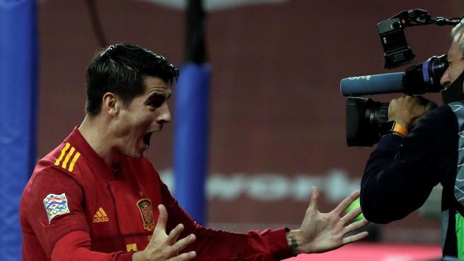 Álvaro Morata celebra un gol ante Alemania