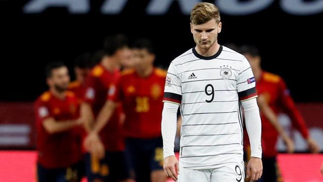 Timo Werner, tras uno de los goles de España a Alemania
