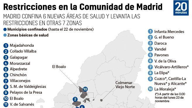 Mapa del total de zonas restringidas en Madrid desde el 23 de noviembre.