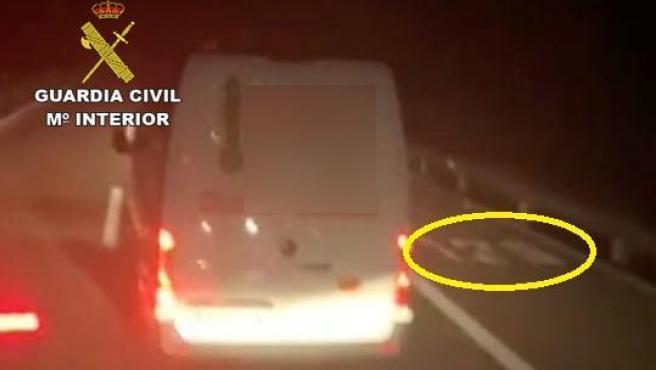 Lugar en el que un conductor de una furgoneta apuntó a un camionero con un puntero láser.