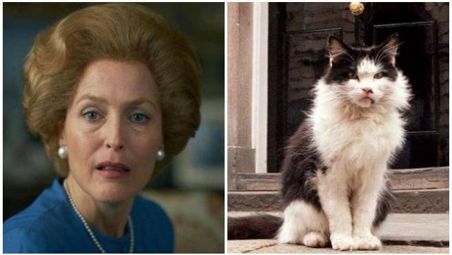 Gillian Anderson (Margaret Thatcher en 'The Crown') y el gato Humphrey.