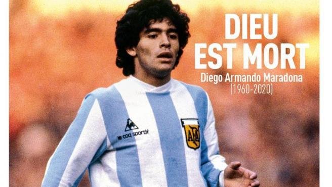 Portada de L'Equipe tras la muerte de Maradona