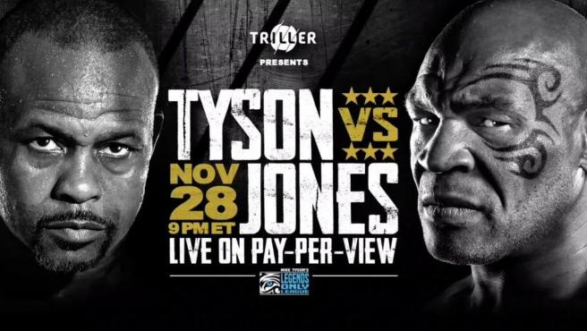 Cartel del combate entre Mike Tyson y Roy Jones Jr.