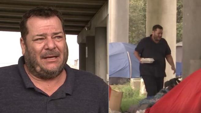 Eric Philip Gordon vive debajo de un puente desde que perdió su trabajo en marzo.