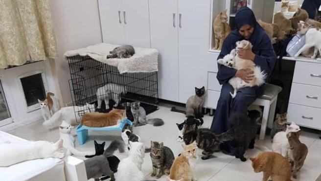 Maryam al-Balushi con algunos de los animales que viven con ella.