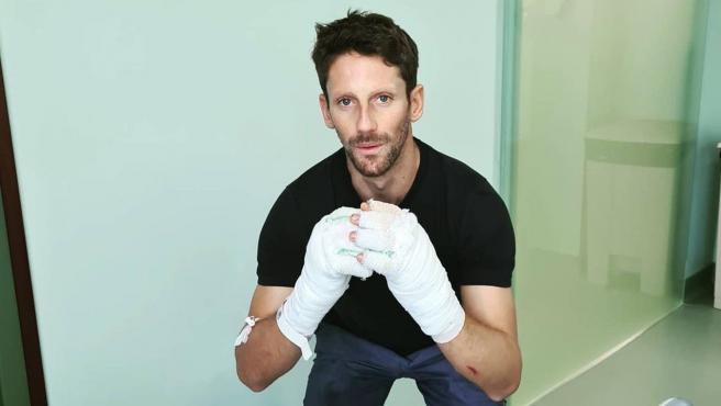 Romain Grosjean, con las manos vendadas