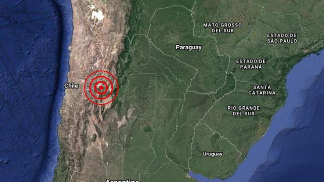 Localización del epicentro del terremoto registrado en la provincia de Salta, en Argentina.