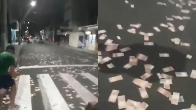 Un grupo de ladrones suelta billetes en la calle para distraer a las autoridades en su huida.