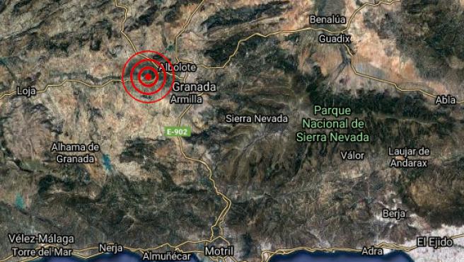 Localización del epicentro del terremoto de 3,6 grados registrado en Pinos Puente, Granada.