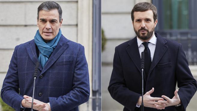 El presidente del Gobierno, Pedro Sánchez, y el líder del PP, Pablo Casado, en el Día de la Constitución.