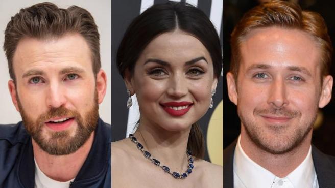 Chris Evans, Ana de Armas y Ryan Gosling