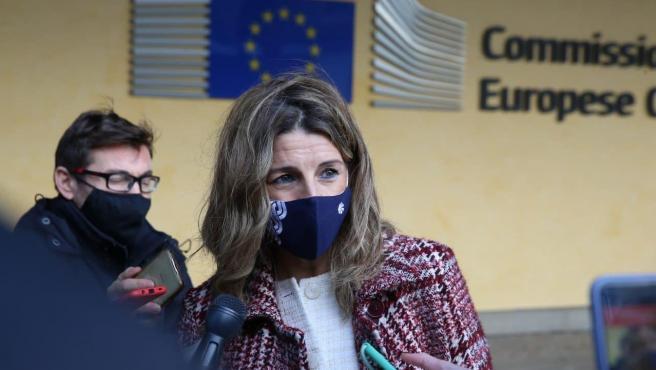 La ministra de Trabajo, Yolanda Díaz, en Bruselas.