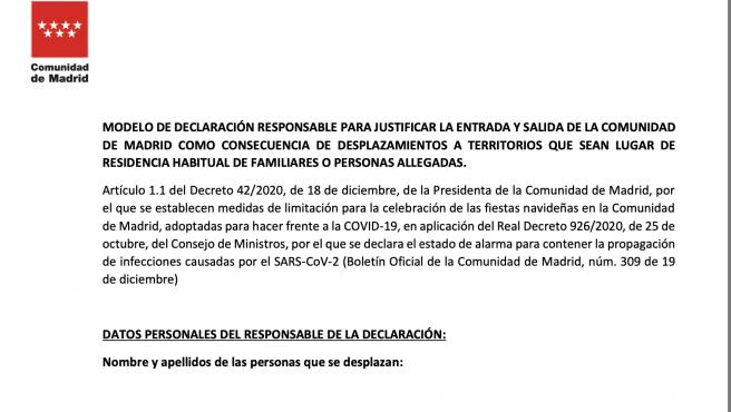 Modelo de declaración responsable para justificar la entrada y salida de Madrid.