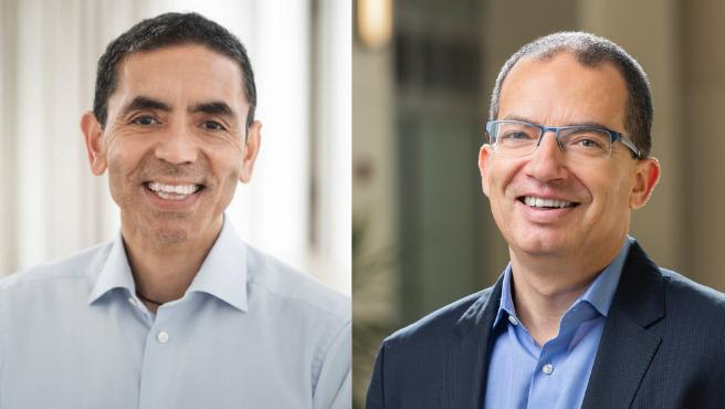 Ugur Sahin (derecha), CEO de la empresa alemana BioNTech y el CEO de la farmacéutica Moderna, Stéphane Bancel (izquierda).