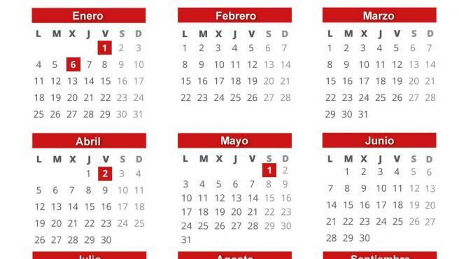 Infografía con calendario laboral para 2021 en España y días específicos en comunidades autónomas