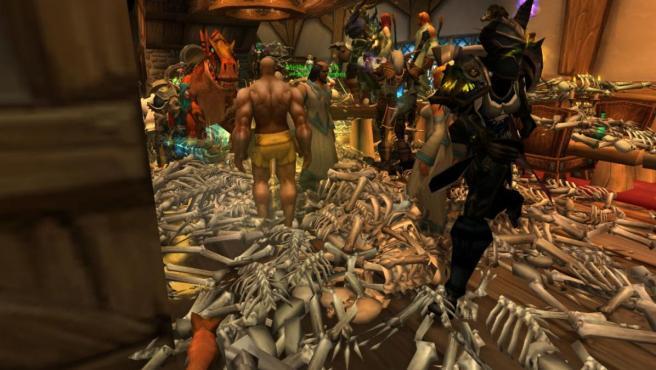 Cadáveres por las calles durante el incidente de la Sangre Corrupta en 'World of Warcraft'.